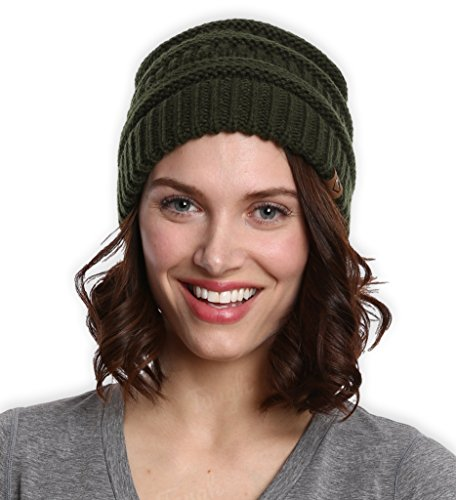 Chunky Cable Knit Beanie by Tough Headwear - Winter Beanie Hats for Warmth & Style - Perfect for Women & Men (Army Green)