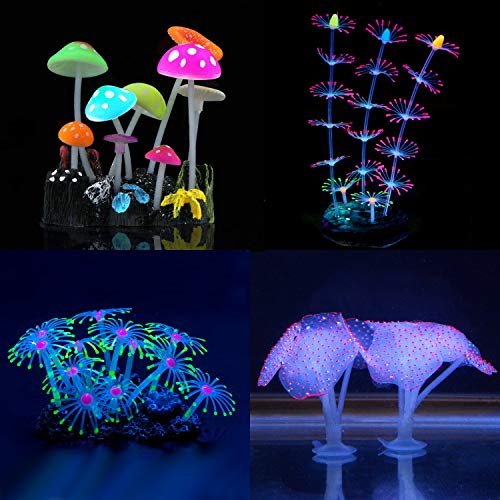 Fantasy Ornament - YUXIER Aquarium Decorations Glowing Mushroom Glowing Coral Ornaments for Fish Tank Decorations(4 Pieces)