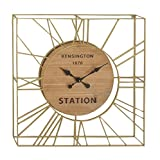 Deco 79 94612 Square Metal and Wood Wall Clock, 31'' x 31'', Gold/Brown/Black