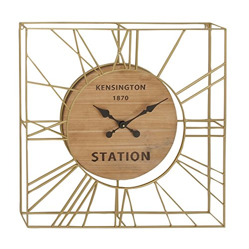 Deco 79 94612 Square Metal and Wood Wall Clock, 31'' x 31'', Gold/Brown/Black by Deco 79 (Image #1)