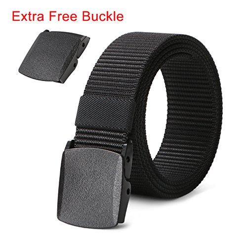 Plastic Belt for Men Nylon Webbing Belt 1 1/2in, Black Casual Canvas Belt for Pants