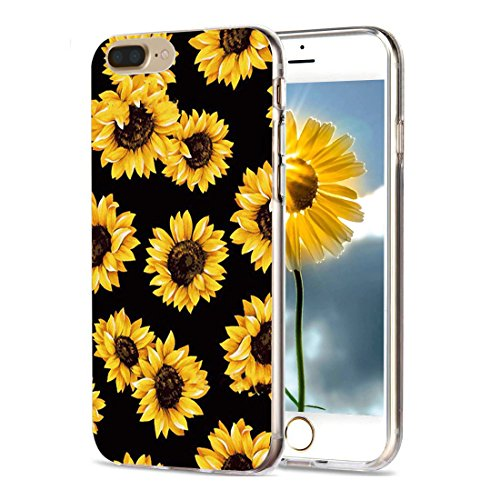 iPhone 8 Plus Case Floral Clear, iPhone 7 Plus Case flowers, ZAOX Gold Sunflower Pattern Shockproof Case Soft Flexible TPU Bumper Cover for Girls iPhone 7 Plus (2016)/iPhone 8 Plus (2017) 5.5 Inch