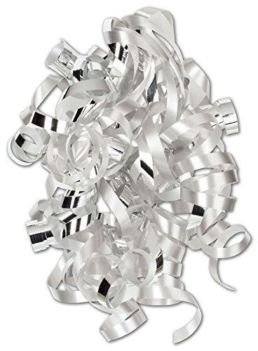 Silver Curly Bows, 1/4'' Wide x 36'' Long, 12 Strands (24 Bows) - BOWS-CSWL-SLV by Miller Supply Inc