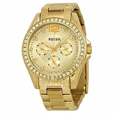 58dd6b9d8482 Fossil Fósiles Riley Multifunción Champagne Dial Dorado Damas Reloj ES3203   goldia  Amazon.es  Joyería