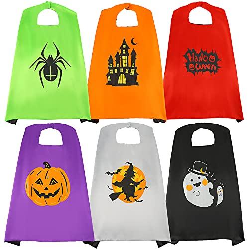 3 otters Halloween Cape Set for Kids, 6 PCS Kids Capes Set Halloween Costume Pumpkin Cape Party Cosplay Dress Up