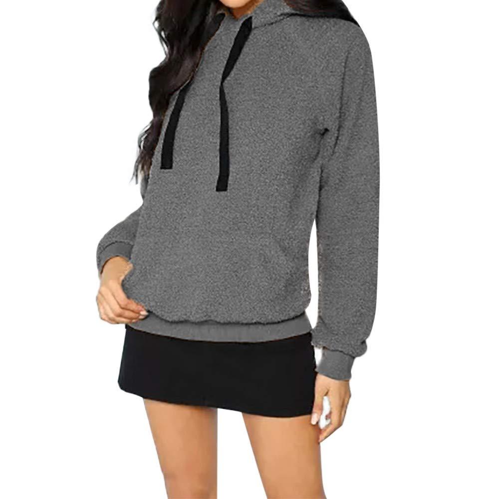 Inverlee Women Hooded Sweatshirt Coat Winter Warm Wool Pocket Cotton Coat Outwear