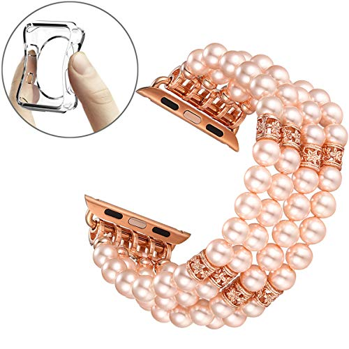 (Fastgo Compatible for Apple Watch Band 38mm 40mm, Fashion Handmade Beaded Elastic Stretch Bracelet Replacement Band Series 4/3/2/1 (Pink - 38mm))