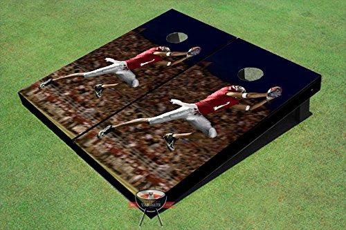 フローティングポン ハンドメイド コーンホールボード 200以上のデザイン 2x4 規定サイズ (24インチ x 48インチ) 木製 米国製 B07GTF1HVY Football Catch Set 6. All Weather Bags + Board Lights