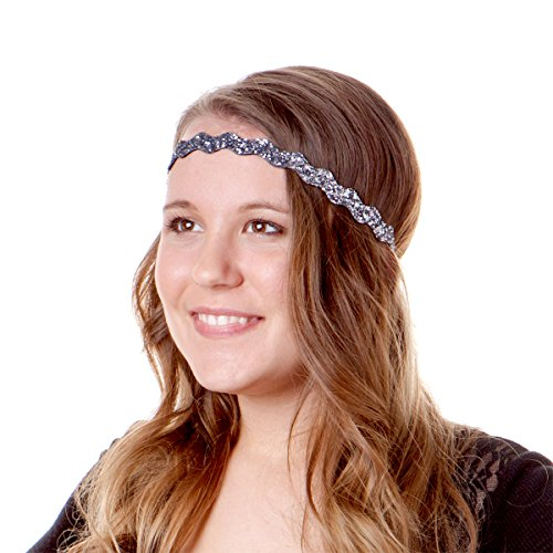 Hipsy Women's No Slip Headband Adjustable Blue & Gold (Blue & Gold Renaissance 5pk)