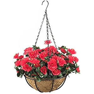 Lopkey Outdoor Artificial Red Azalea Bush Flower Patio Lawn Garden Hanging Basket with Chain Flowerpot,Red 62