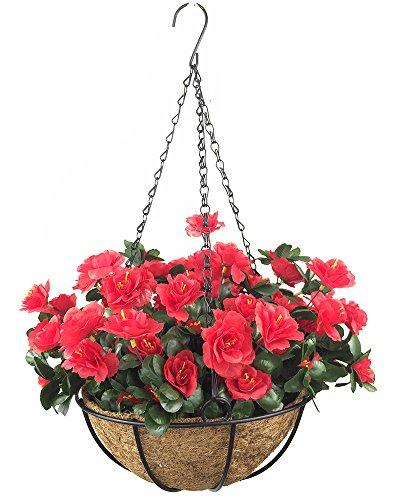 Lopkey Outdoor Artificial Red Azalea Bush Flower Patio Lawn Garden Hanging Basket with Chain Flowerpot,Red