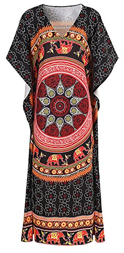SZIVYSHI Manga Estilo Kimono Escote Triangular en V Barroco Étnico Tribal Africano Azteca Long Larga Largo Maxi Shift Boxy Straight de Cambio Recto Columna de Vuelo Trapecio Vestido Negro