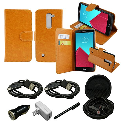 Mstechcorp - LG Volt 2 Case, LG Magna Case, - LG Volt 2 (Boost Mobile) , LG Magna, Design Dual-Use Flip PU Leather Fold Wallet Pouch Case Premium Leather Wallet Flip Case for LG Volt 2 - Includes Wall Charger + Car Charger+ 2 Data Cable + Touch Screen Stylus + Hands Free Earphone With Carrying Case (LEATHER BEIGE) (Cases Lg Phone Disney Volt)