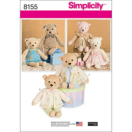 Simplicity Pattern 8155 Stuffed Bears with Clothes, One Size