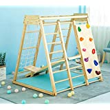 Indoor Toddler & Child Indoor Gym Playground Climber Real Wooden Playset 6-in-1 Slide, Rock Climb Wall, Rope Wall Climbing, M