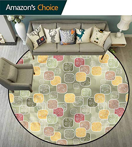 RUGSMAT Floral Area Rugs Ring 3D Non-Slip Rug,Geometric Squares Swirls Lifts Basket Swivel Chair Pad Coffee Table Rug Diameter-35 ()