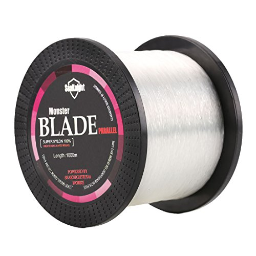 SeaKnight Monster Blade Monofilament Fishing Line 1000m/1094yds Japan Material Nylon Fishing Line White 20LB/9.07KG/0.37mm/1000 Meters