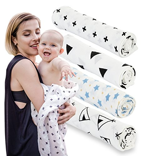 Swaddle Blankets for Baby - 4 Muslin Blanket Set - Unisex Pack For Boys and Girls - 100% Organic Cotton - 47x47