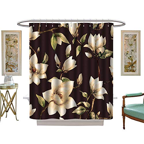 - luvoluxhome Shower Curtains Sets Bathroom Magnolia Flowers White Magnolia Background Satin Fabric Sets Bathroom W48 x L72