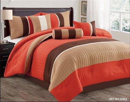 Modern 7 Piece Bedding Orange/Brown/White Pin Tuck/Stripe Queen Comforter Set using Accent Pillows Black Friday & Cyber Monday 2018