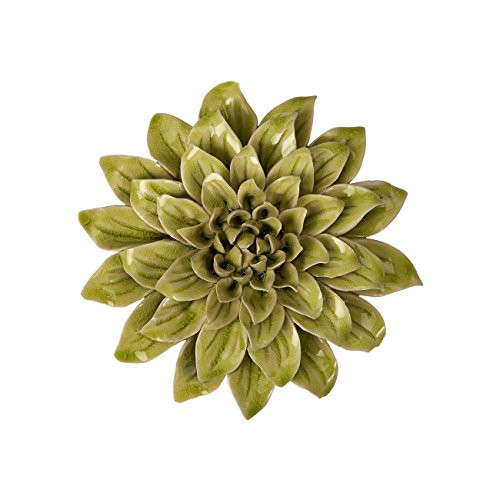 Imax 64196 isabella small ceramic wall decor flower green for Decorate with flowers amazon