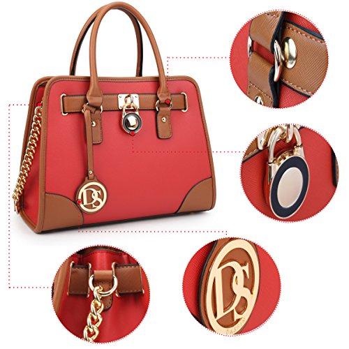 2 Pieces Shoulder Handle Padlock Top Red Handbag Medium Set Bag Purse Designer Satchel Hznw5