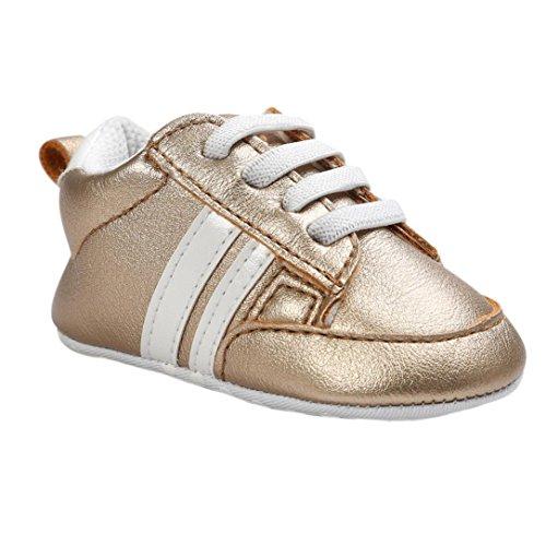 Babyschuhe, Sunnyyoyo Infant Kleinkind Jungen Mädchen Soft Bottom Anti-Rutsch-Leder Sportschuh Gold
