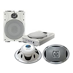 Lanzar Marine Amp Woofer and Speaker Package - AQTB8 8\'\' 1000 Watts Low-Profile Super Slim Active Amplified Marine/Waterproof Subwoofer System - AQ69CXS 500 Watts 6\'\'X9\'\' 2-Way Marine Speakers (Silver Color) (Pair)