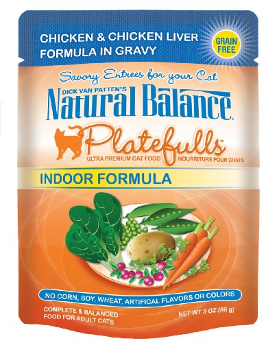 Natural Balance 3-Ounce Platefulls Indoor Chicken and Chicken Liver Formula in Gravy entree, 24-Pack, My Pet Supplies