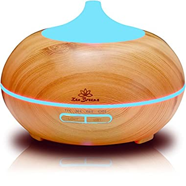 Zen Breeze, Essential Oil Diffuser, 2016 Model Aroma Humidifier, 14 Color Shades, Best Wood Grain, Ultrasonic Whisper Quiet Cool Mist Aromatherapy