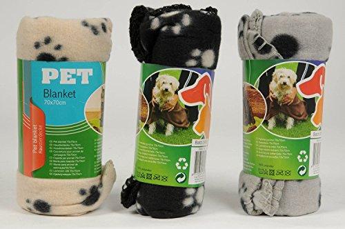 3er Pack Haustierdecke 70x70cm Haustier Decken 3 farbig sortiert für Hunde und Katzen