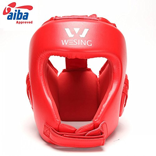 boxing headgear sanda head guard micro fiber boxing head protective (red, L)