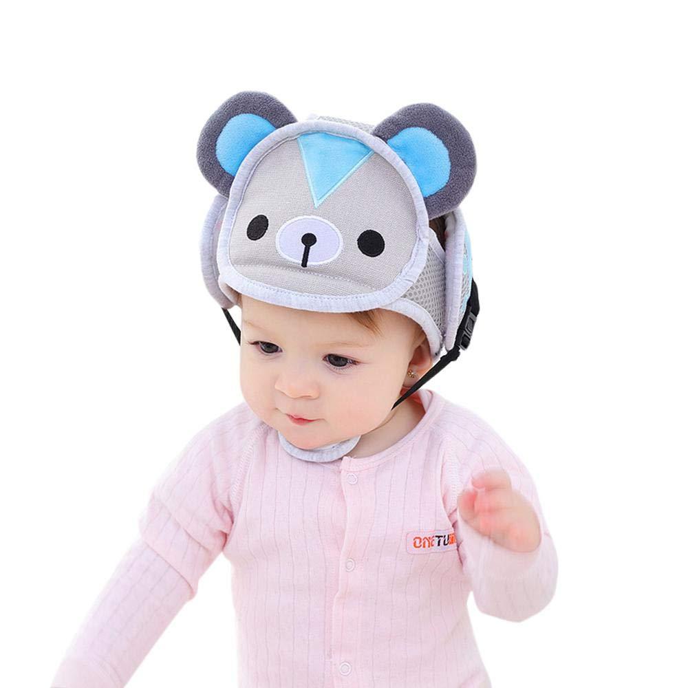 KOBWA - Casco de seguridad ajustable para bebés con arneses de protección para niños y niñas, transpirable, para aprender a caminar y correr rosa rosa