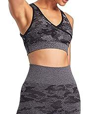 Aoxjox Camo Seamless Sports Bra for Women Medium Support Gym Yoga Seamless Workout Top