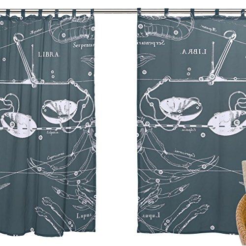 ZOEO Tulle Voile Window Decoration Sheer Curtain,Fantasy Constellation Graph Libra,2 PCS Gauze Curtain Drape Panel Valance 55 x 78 inch