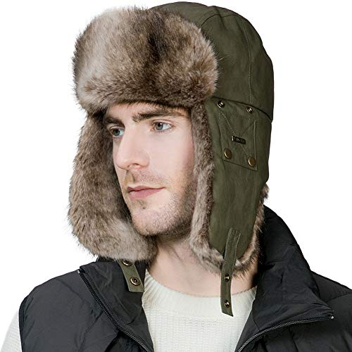 Ladies Leather Hats (Mens Winter Trapper Hunting Hat Ear Flaps Faux Leather Fur Russian Ushanka Cold Weather Ski Bomber Women ArmyGreen)