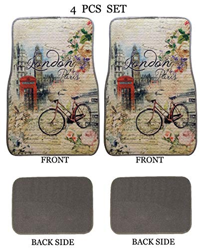 ALLBrand Universal Fit Front/Rear 4-Piece Full Set Sublimation Print Custom Design Carpet Car SUV Truck Floor Mats (London/Gray) ()