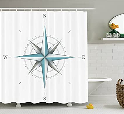 Ambesonne Compass Shower Curtain Antique Wind Rose Diagram For Cardinal Directions Axis Of Earth Illustration