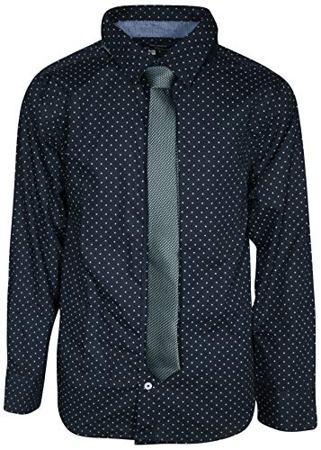 Ben Sherman Boys Long Sleeve Shirt Tie Set, Navy Dots, Size 4'