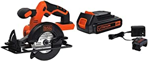 BLACK+DECKER 20V MAX 5-1/2-Inch Cordless Circular Saw, Tool Only with Lithium Battery & Charger (BDCCS20B & LBXR20CK)