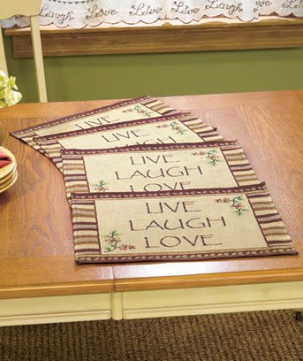 Live Laugh Love Placemats Set Of 4 Primitive Country Tapestry Table Mats