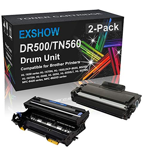 Compatible 2-Pack (1x Black Toner, 1x Drum Unit) High Capacity TN560 DR500 Drum Unit Replacement for Brother DR500 TN560 Toner Cartridge Used for Brother HL-1650 HL-1670N HL-1850 HL-1870N Printer