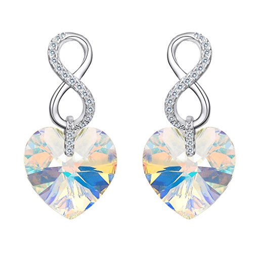 EVER FAITH 925 Sterling Silver CZ Infinity Heart Earrings Clear AB Adorned with Swarovski - Crystal Heart Clear