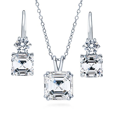 BERRICLE Rhodium Plated Sterling Silver Asscher Cut Cubic Zirconia CZ Solitaire Bridal Bridesmaid Necklace and Earrings Set 5.99 CTW