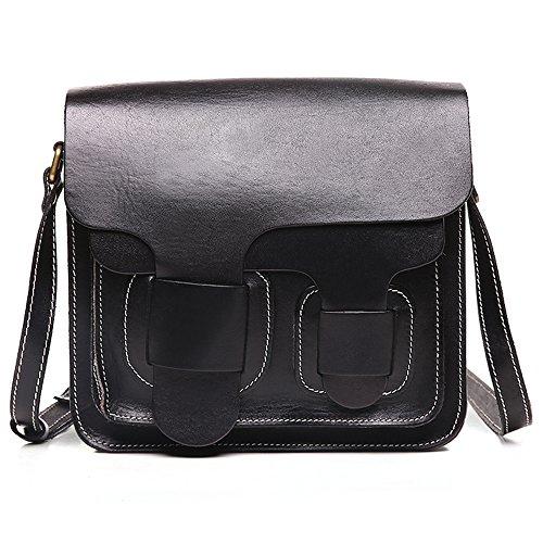 Kinglang Women's Retro Leather Crossbody Satchel Bag Message Shoulder Handbag Black Kl-qyw8603-black