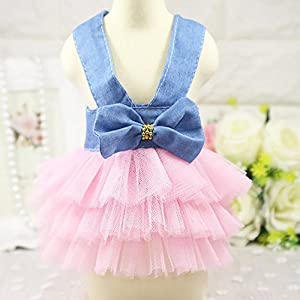 Howstar Pet Dress, Cute Halter Bowknot Tutu Dresses for Dog Puppy Lace Skirt Princess Dress (S, A)