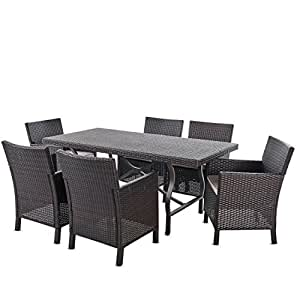 Arlone Outdoor 7 Piece Multibrown Wicker Dining Set with Rectangular Aluminum Framed Dining Table and L