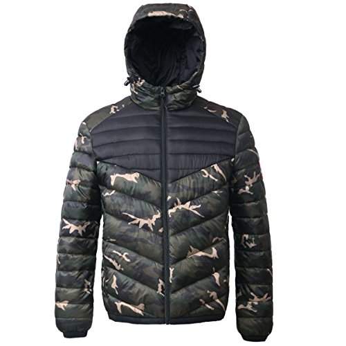 Rokka&Rolla Men's Lightweight Water Resistant Hooded Quilted Poly Padded Puffer Jacket (Best Winter Coats Canada Men)