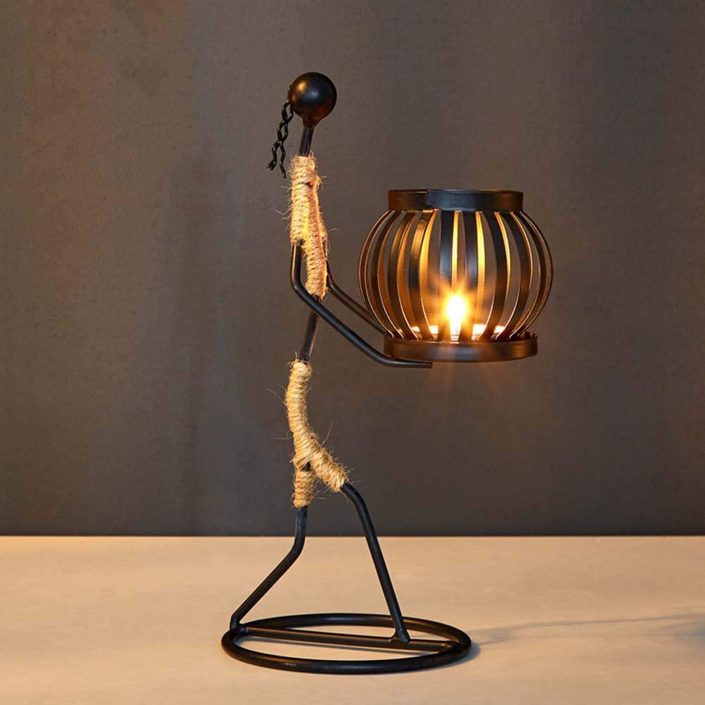 Houchu Nordic Metal Candlestick Abstract Character Sculpture Candle Holder Vintage Candlestic Iron Stand Handmade Home Decoration Art Gift(H)