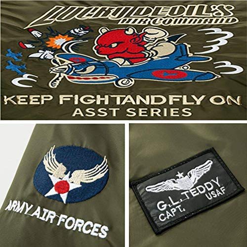 Vento Chic M Giacca Vintage Air Badge Da armeegrün Uomo Zip Con Force Classica Patch Jacket Bomber 5 Per Flight Size A Leggera color qfBz6B